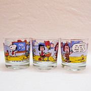 (3) Vintage United Feature Syndicate Hiball Glasses Featuring Peanut Characters 1971 Very Good