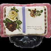 Vintage Ceramic Decorative Piece with Religious Proverb 1950s