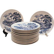 Vintage Wedgwood 10 Inch Dinner Plates Blue Countryside Pattern Very Good Condition