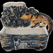 Vintage Porcelain Victorian Era Lizard Match Holder Excellent Condition