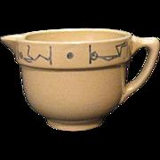 SALE Vintage Rare Buckeye Pottery Yellow Ware Small Milk/Creamer Pitcher Blue Stick man Motif