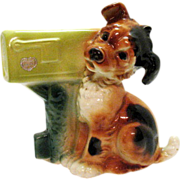 SOLD Vintage Royal Copley Dog At Mail Box Planter 1940-50s Excellent Condition