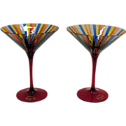 SALE Pair of Vintage Murano Stripped Glasses 1960s