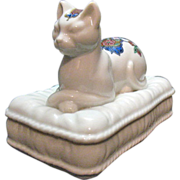SOLD Vintage Elizabeth Arden Porcelain Cat Soap Dish Holder with lid Mosaic Motif Design Excel