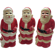 Three Plastic Light Up Santa's 1950-60s