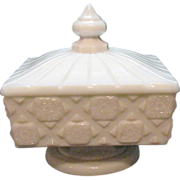Vintage Westmoreland Milk Glass Compote Covered Honey in Old Quilt Pattern 1940-84 Very Good .
