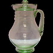 Vintage Transparent Green Beverage Pitcher 1920-30s Very Good Condition