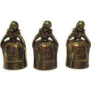 SALE 3 Dutch Women Brass Bells Made in Korea 1950s Very Good Condition
