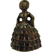 Vintage Brass Bell Figurine of Southern Lady 1950s Very Good Condition