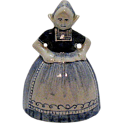 Vintage Small Ceramic Delph Blue Bell Dutch Woman Figurine 1950s Very Good Condition