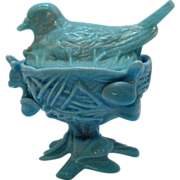 SOLD Vintage Westmoreland Robin on Nest Blue Candy Dish 1970s Very Good Condition