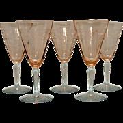 SALE Vintage Fostoria Needle Etched 9 Oz Rose Colored Optic Goblets Eilene Pattern 1928-32 ...