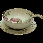 SALE Vintage Nippon Whipped Cream Server Set Azalea Pattern #19322 Hand Painter Very Good Cond