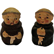 Vintage Friar Salt Pepper Shaker Set Imports 1950s Good Condition
