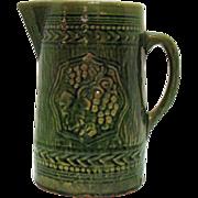 Vintage McCoy Green Pottery Pitcher Grape Motif 1920s Good Condition