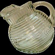 SOLD Vintage Anchor Hocking Manhattan Crystal Depression Glass Tilted Ball Pitcher 1939-41 Ver