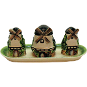 Vintage Japan 1950s Ceramic Condiment Set Good Condition