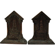 Vintage 1920s Cast Iron Bookends Depicting a Steeple Church from Early Colonial Days Very Good