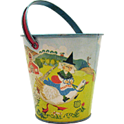 SALE Vintage Chein Co. Metal Mother Goose Sand Pail 1930s Very Good Condition