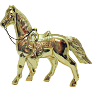 Vintage Gold Plated Metal Horse 1950-60s Very Good Condition