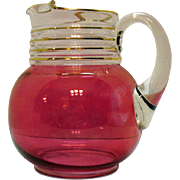 Vintage Red Flashed Ball Jug by Anchor Hocking 1940-50s Good Condition