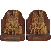 Vintage Wood Resin Bookends Depicting the Cathedral of Reims France 1940s  Good Condition