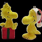(2) Vintage Peanuts Character & Snoopy's Side Kick Woodstock Ceramic Christmas tree Ornament
