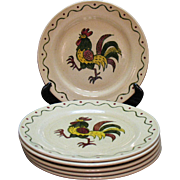 SALE Vintage Metlox Vernon Poppytrail California Provincial (6) 10 Inch Dinner Plates 1956-82
