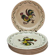 Vintage Metlox Vernon Poppytrail California Provincial (6) 9 Inch Luncheon Plates 1956-82 Very