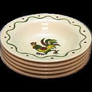 Vintage Metlox Vernon Poppytrail California Provincial Pattern (5) Fruit/Dessert Bowls 1956-82