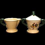 Vintage Metlox Vernon Poppytrail California Provincial Pattern Creamer & Sugar Bowl with Lid 1