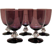 Vintage (5) Water Goblets by Bryce Aquarius Amethyst Bowl & Foot Pattern #961 Very Good ...