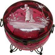 SOLD Antique Bohemian   Cranberry Glass Casket Mary Gregory Motif Late 1800s Very Good Conditi