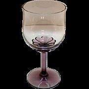 SOLD Vintage (14) Fostoria Wine Glasses Amethyst Base & Stem Corsage Plum Pattern 1970s Very G