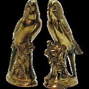 Vintage Pair of Brass Parakeet Figurines Red Rhinestone Eyes 1950s Good Condition
