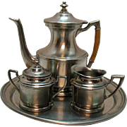 Vintage Hand Wrought Nantucket Pewter Coffee Pot Creamer Sugar Tray Good Condition