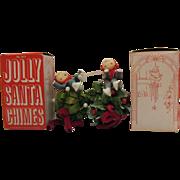 Vintage Santa Wind Chimes & Pixie Mistletoe Hangers 1950-60s Good Condition