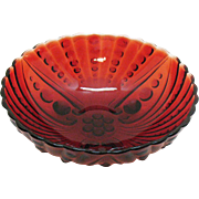 Vintage Hard to Find Anchor Hocking Royal Ruby Large Berry Bowl in Burple Pattern 1950-60s Goo