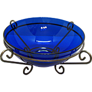 Vintage Cobalt Blue Fruit Console Bowl with Metal Holder 1950-60s Very Good Condition