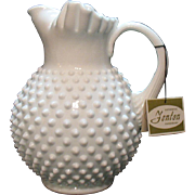 Very Nice Vintage Fenton Hobnail Milk glass 64 Ounce Ice Lip Jug Very Good Condition
