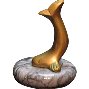 Vintage Paperweight Brass Whale on Marble Base 1950s Very Good Condition