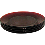 Vintage 5 Anchor Hocking Royal Ruby salad plates from 1938 to the 60s still in good condition
