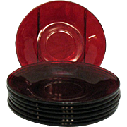 SOLD Vintage 7 Anchor Hocking Royal Ruby Saucers 1938-60s Good Condition