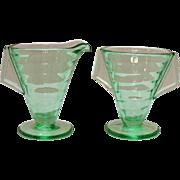 Vintage Transparent Green Depression glass Sugar & Creamer Set Tab Handles 1930s Very Good ...