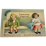 Vintage Christmas Post Card by Ellen Clapsaddle Post Marked 1915 Good Condition