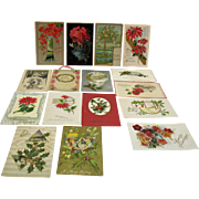 Sixteen Vintage Post Cards about Christmas Birthdays Friendship Post Marked 1914-15 Good Condi
