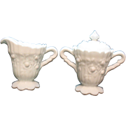Vintage Fenton Rose milk glass sugar with lid and creamer set from 1967-74 still in very good