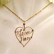 SALE 50% OFF~Vintage Hand Crafted 14KGF Necklace Love Pam Heart