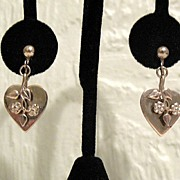 SALE 50% OFF~Vintage Dangle Heart Earrings Floral Overlay Screw Back