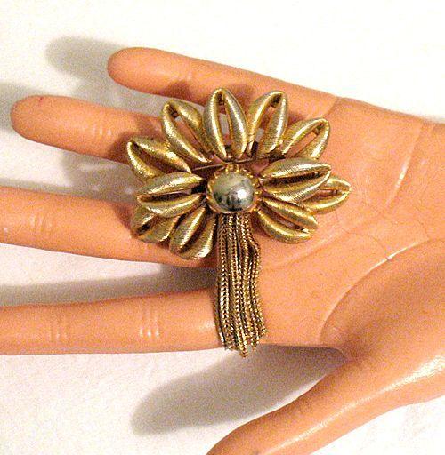 50% OFF~Unusual Vintage Brooch Palm Tree Tassel Big Bold
